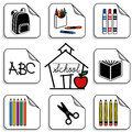 Schoolhouse stickers eight for back to school scrapbooks preschool daycare arts crafts and literacy projects includes a backpack Royalty Free Stock Images