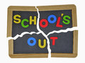 Schools out on broken slate Royalty Free Stock Photo