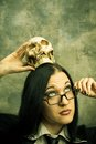 Schoolteacher with skull Stock Photo