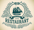 Schooner fine dining restaurant label retro styled including the image of a sailboat editable vector illustration Royalty Free Stock Images