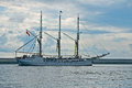 Schooner leaving harbor old german grossherzogin elisabeth the harbour of gdynia northern poland Stock Photos