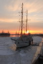 Schooner at sunset Royalty Free Stock Photo