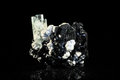 Schorl and aquamarine crystal in front of black tourmaline an Royalty Free Stock Photos
