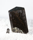 Schorl or black tourmaline crystal of used as a metaphysical mineral due to its pyroelectric energy to align the electrochemistry Royalty Free Stock Images