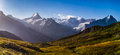 Schreckhorn Mountain Panorama Royalty Free Stock Photos