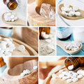 Schuessler salt medicine different collage Royalty Free Stock Image