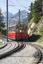 Schynige platte railway terminus station train arriving at the at the the is a mountain in the Royalty Free Stock Image
