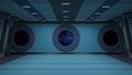 Sci fi corridor inside a futuristic hallway d rendering Stock Photos