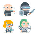 Sci-fi Fantasy Techno Knight Cybernetic Technomage Programmer Engineer RPG Game Character Vector Icons Set Vector