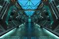 Sci-Fi grunge metallic blue corridor background Royalty Free Stock Photo