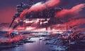 sci-fi scene of industrial city