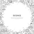 Science Background with Chemistry Line Icons Royalty Free Stock Photo