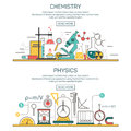 Science banner vector concepts in line style. Chemistry and Physics design elements. Laboratory workspace, science