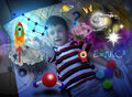 Science Boy Exploring and Learning Space Stock Images