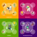 Science Chemical Pharmaceutical Concept Banner Set 3d Isometric View. Vector
