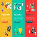 Science Chemical Pharmaceutical Concept Banner Vecrtical Set 3d Isometric View. Vector