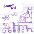 Science chemistry lab background sketchy style laboratory Royalty Free Stock Images