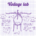 Science chemistry lab background sketchy style laboratory Royalty Free Stock Photos