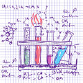 Science chemistry lab background sketchy style laboratory Stock Photography