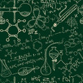 Science chemistry old laboratory seamless pattern. Vintage  background sketchy style Royalty Free Stock Photo