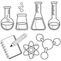 Science and chemistry set. Black and white coloring book page Royalty Free Stock Photo