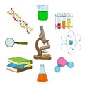 Science decorative elements icons set with microscope dna flasks books isolated vector illustration Stock Photography