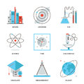 Science and discovery line icons set thin of new things planet universe research scientific experiment books knowledge modern flat Royalty Free Stock Photos