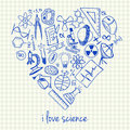 Science drawings in heart shape illustration of doodles Stock Photography