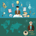 Science and education professor research students banners Royalty Free Stock Photo