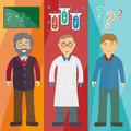 Science and education: professor,scientist, student Royalty Free Stock Photo