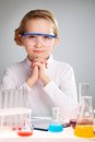Science enthusiast vertical portrait of an enthusiastic girl loving Royalty Free Stock Photo