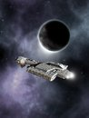Science fiction battle cruiser dark world spaceship passing a planet in deep space d digitally rendered illustration Stock Images