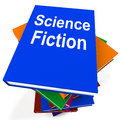 Science fiction book stack shows scifi books showing Royalty Free Stock Image