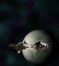 Science fiction gunship in orbit around an alien world d digitally rendered illustration Stock Image