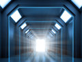 Science fiction interior scene a hallway with an open gate Stock Photo