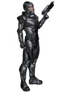Science fiction soldier standing futuristic in protective armoured space suit holding pistols d digitally rendered illustration Stock Photo