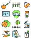 Science and genetic laboratory icons set. Royalty Free Stock Photo
