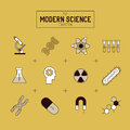 Science Gold Vector Icon Set Royalty Free Stock Photo