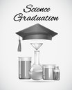 Science graduation sign with graduation cap and science equipment