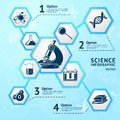 Science hexagon infographic research education laboratory equipment business vector illustration Stock Photo