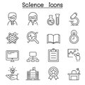 Science icon set in thin line style Royalty Free Stock Photo