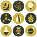 Science icons collection a set of flat design and education isolated on white Stock Photography