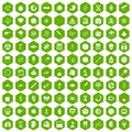 100 science icons hexagon green