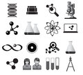 Science icons icon set illustration in black Stock Images
