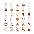 Science icons set of vector chemistry icon for design on white background Royalty Free Stock Image