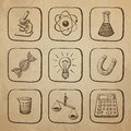 Science icons sketch sketched on the page of the old paper Royalty Free Stock Photography