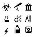 Science icons and symbols set isolated on white background Royalty Free Stock Photo