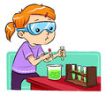 Science learning a girl doing some experiments vector eps file Stock Image