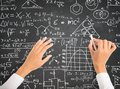 Science and math formulas on chalkboard Stock Image