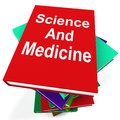 Science and medicine book stack shows medical showing research Royalty Free Stock Photos